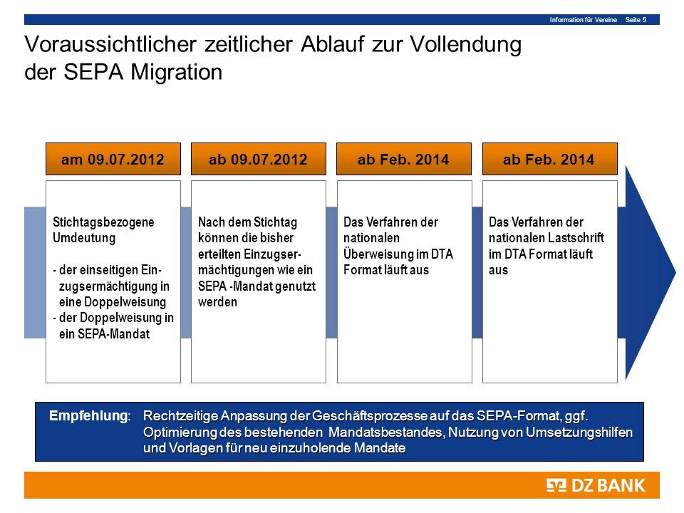 Information für Vereine Seite 5 Voraussichtlicher zeitlicher Ablauf zur Vollendung der SEPA Migration am 09.07.2012ab 09.07.2012ab Feb. 2014 Stichtags