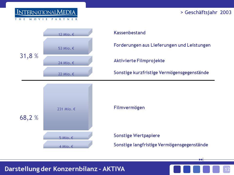 12 > Geschäftsjahr 2003 Darstellung der Konzernbilanz - AKTIVA 12 Mio.