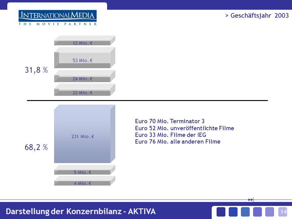 14 > Geschäftsjahr 2003 Darstellung der Konzernbilanz - AKTIVA 12 Mio.
