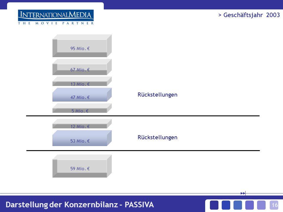 16 > Geschäftsjahr 2003 Darstellung der Konzernbilanz - PASSIVA 95 Mio.