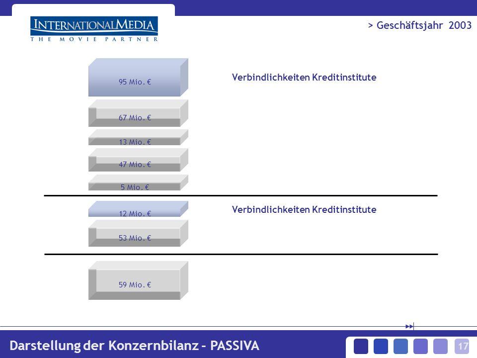 17 > Geschäftsjahr 2003 Darstellung der Konzernbilanz - PASSIVA 95 Mio.