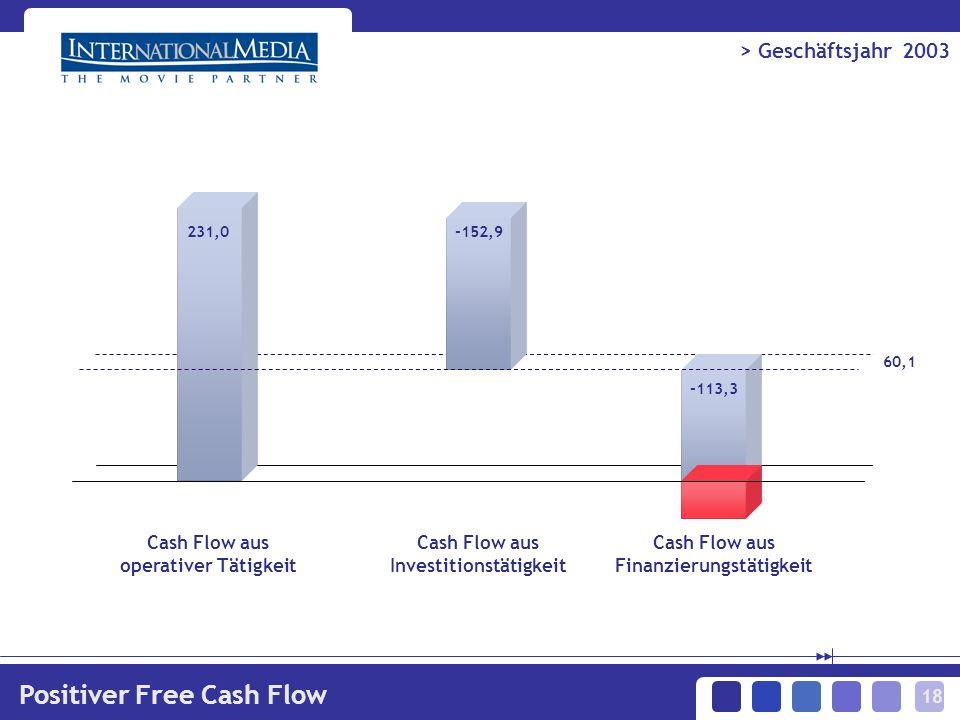 18 > Geschäftsjahr 2003 Positiver Free Cash Flow -113,3 231,0-152,9 Cash Flow aus operativer Tätigkeit 60,1 Cash Flow aus Investitionstätigkeit Cash Flow aus Finanzierungstätigkeit