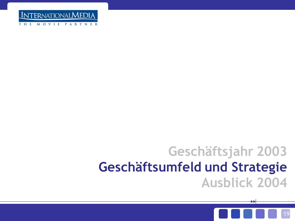 19 Geschäftsjahr 2003 Geschäftsumfeld und Strategie Ausblick 2004