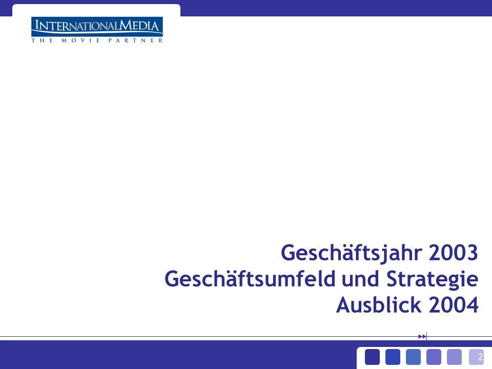 2 Geschäftsjahr 2003 Geschäftsumfeld und Strategie Ausblick 2004