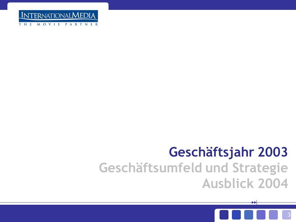3 Geschäftsjahr 2003 Geschäftsumfeld und Strategie Ausblick 2004
