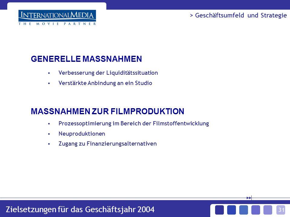 31 Zielsetzungen für das Geschäftsjahr 2004 > Geschäftsumfeld und Strategie Verbesserung der Liquiditätssituation Verstärkte Anbindung an ein Studio Prozessoptimierung im Bereich der Filmstoffentwicklung Neuproduktionen Zugang zu Finanzierungsalternativen GENERELLE MASSNAHMEN MASSNAHMEN ZUR FILMPRODUKTION