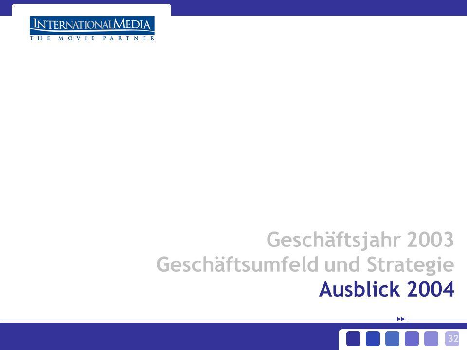 32 Geschäftsjahr 2003 Geschäftsumfeld und Strategie Ausblick 2004