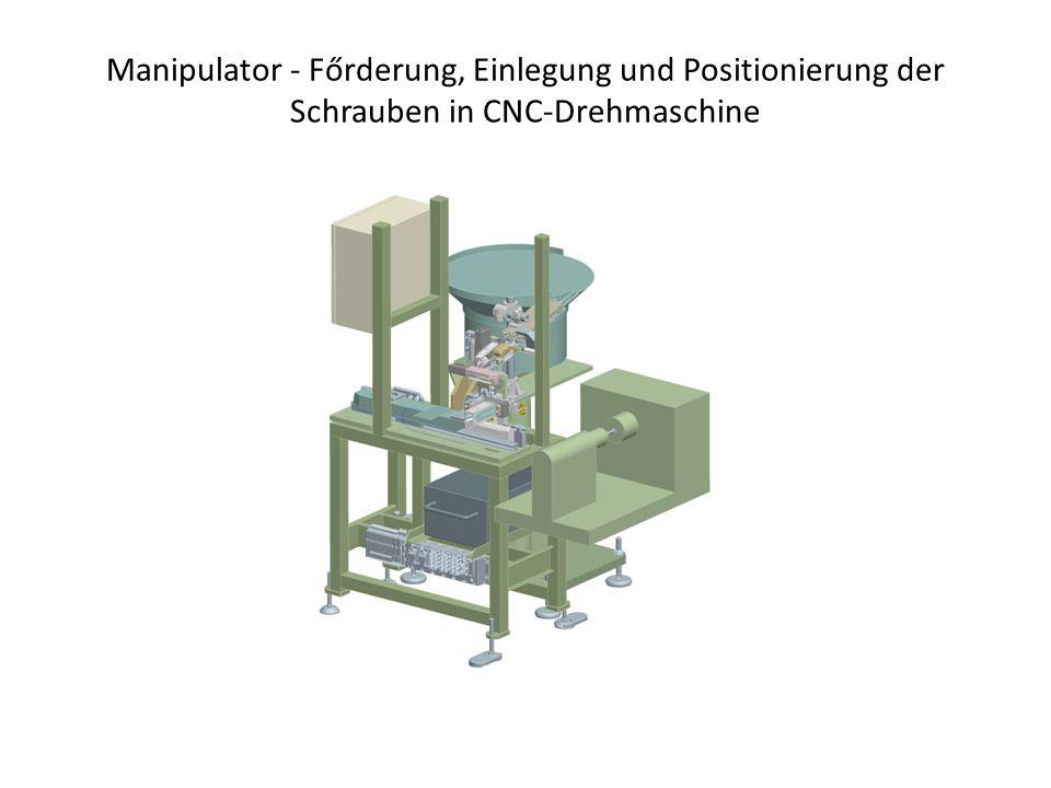 Manipulator - Főrderung, Einlegung und Positionierung der Schrauben in CNC-Drehmaschine