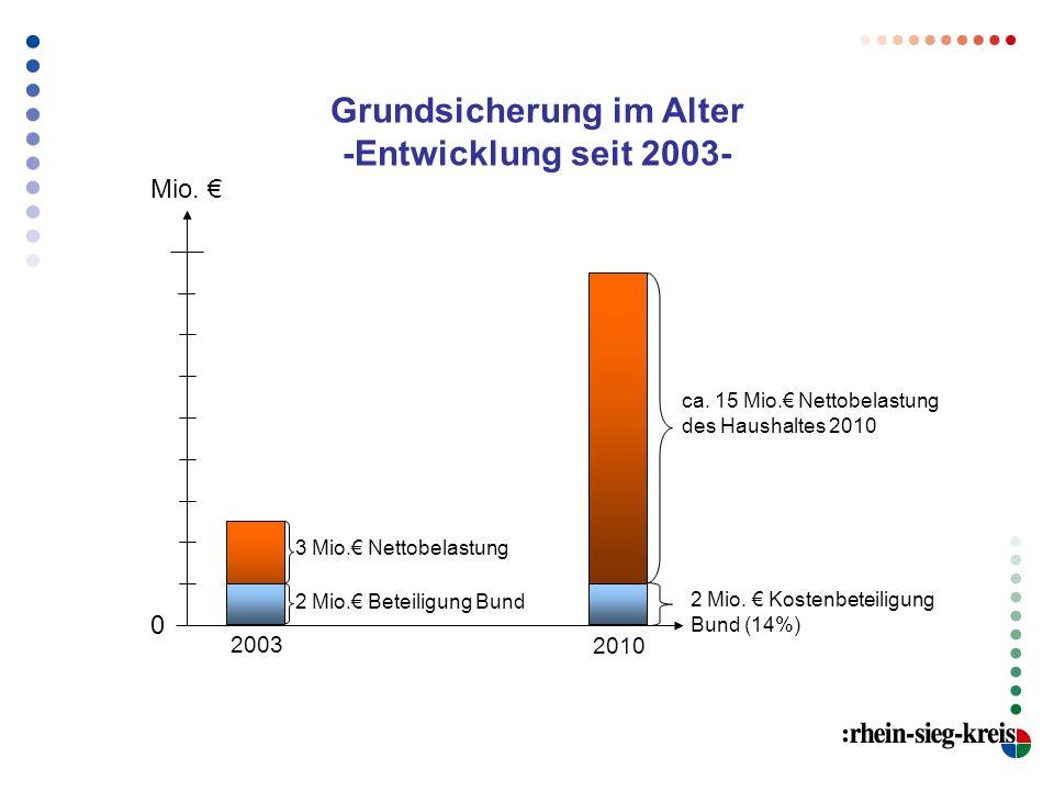 Mio. ca. 15 Mio. Nettobelastung des Haushaltes 2010 2 Mio. Kostenbeteiligung Bund (14%) Grundsicherung im Alter -Entwicklung seit 2003- 2003 2010 3 Mi