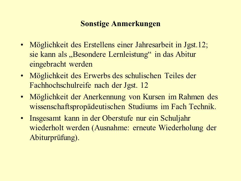 Sonstige Anmerkungen Möglichkeit des Erstellens einer Jahresarbeit in Jgst.12; sie kann als Besondere Lernleistung in das Abitur eingebracht werden Mö