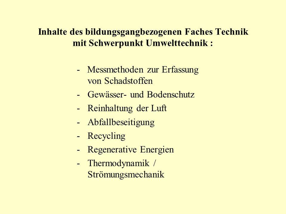 Inhalte des bildungsgangbezogenen Faches Technik mit Schwerpunkt Umwelttechnik : - Messmethoden zur Erfassung von Schadstoffen -Gewässer- und Bodensch