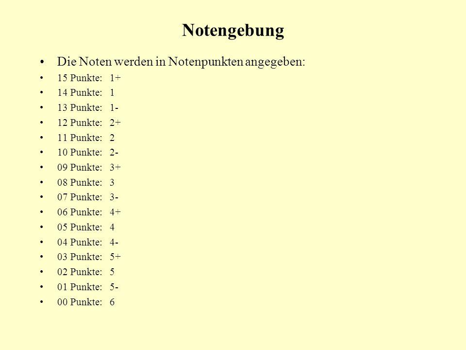 Notengebung Die Noten werden in Notenpunkten angegeben: 15 Punkte: 1+ 14 Punkte: 1 13 Punkte: 1- 12 Punkte: 2+ 11 Punkte: 2 10 Punkte: 2- 09 Punkte: 3
