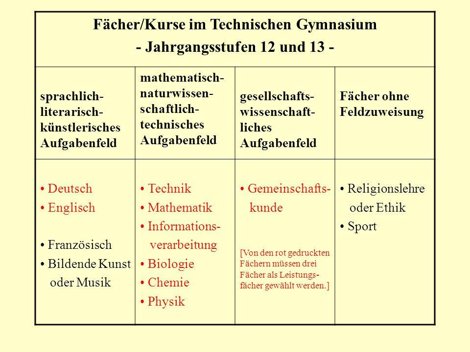 Fächer/Kurse im Technischen Gymnasium - Jahrgangsstufen 12 und 13 - sprachlich- literarisch- künstlerisches Aufgabenfeld mathematisch- naturwissen- sc