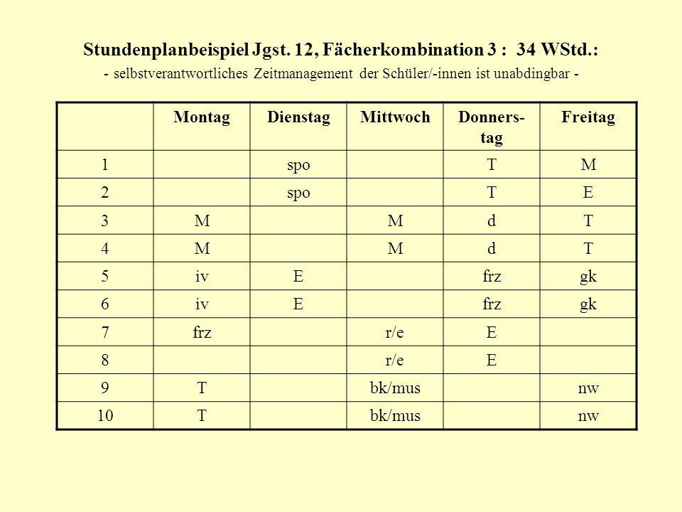 Stundenplanbeispiel Jgst. 12, Fächerkombination 3 : 34 WStd.: - selbstverantwortliches Zeitmanagement der Schüler/-innen ist unabdingbar - MontagDiens