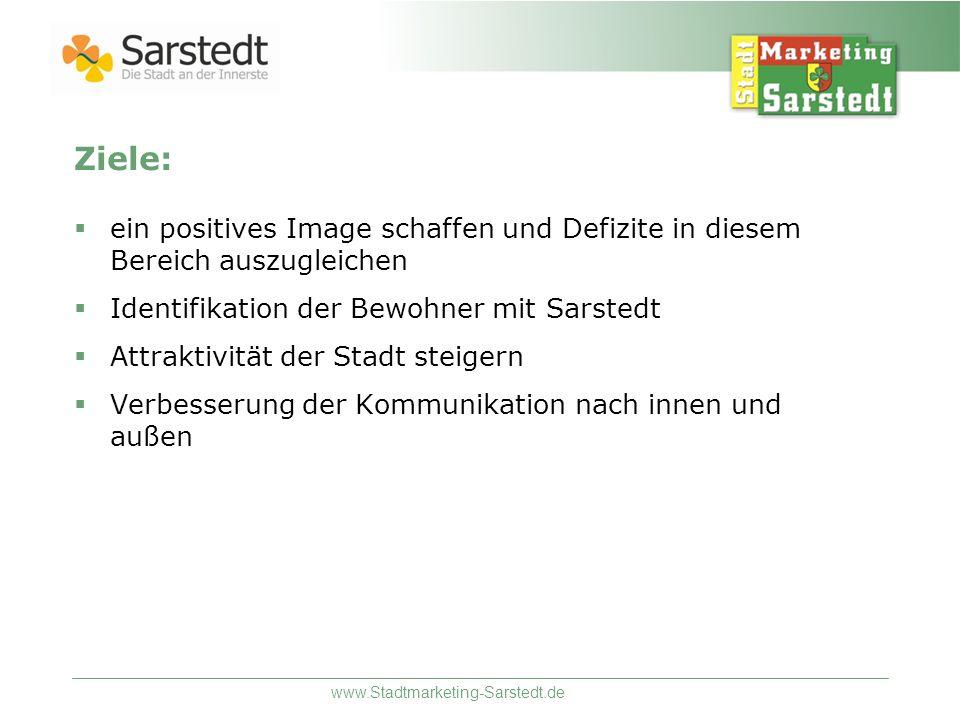 www.Stadtmarketing-Sarstedt.de Ziele: ein positives Image schaffen und Defizite in diesem Bereich auszugleichen Identifikation der Bewohner mit Sarste
