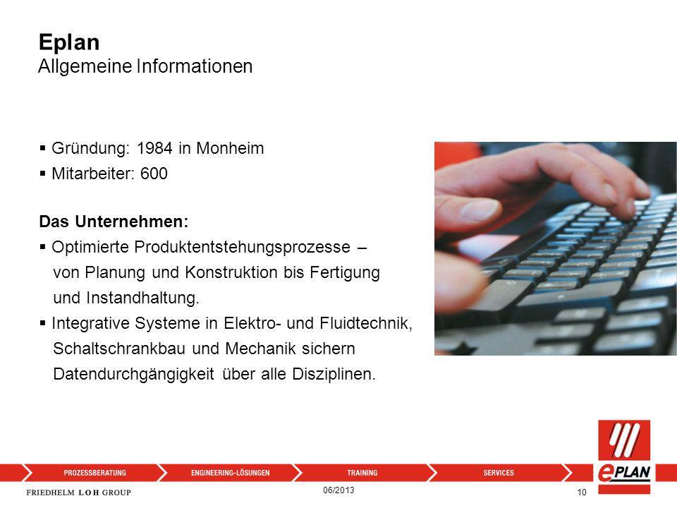 Eplan Allgemeine Informationen 10 Gründung: 1984 in Monheim Mitarbeiter: 600 Das Unternehmen: Optimierte Produktentstehungsprozesse – von Planung und