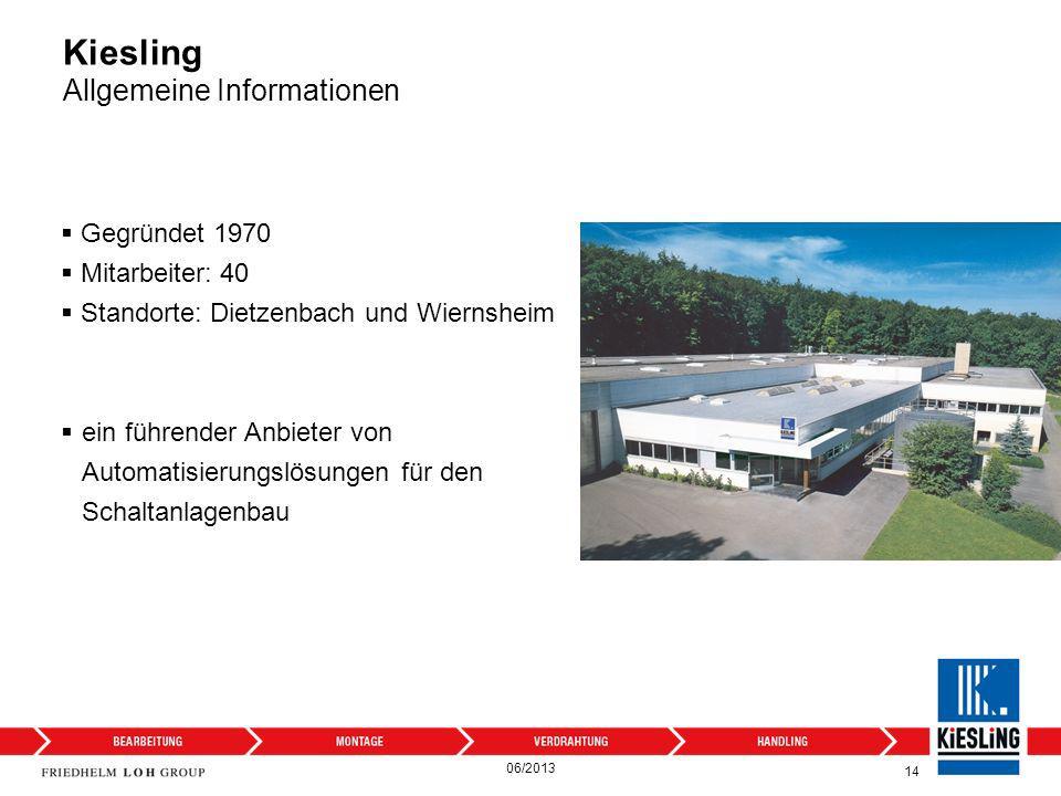 14 Kiesling Allgemeine Informationen Gegründet 1970 Mitarbeiter: 40 Standorte: Dietzenbach und Wiernsheim ein führender Anbieter von Automatisierungsl