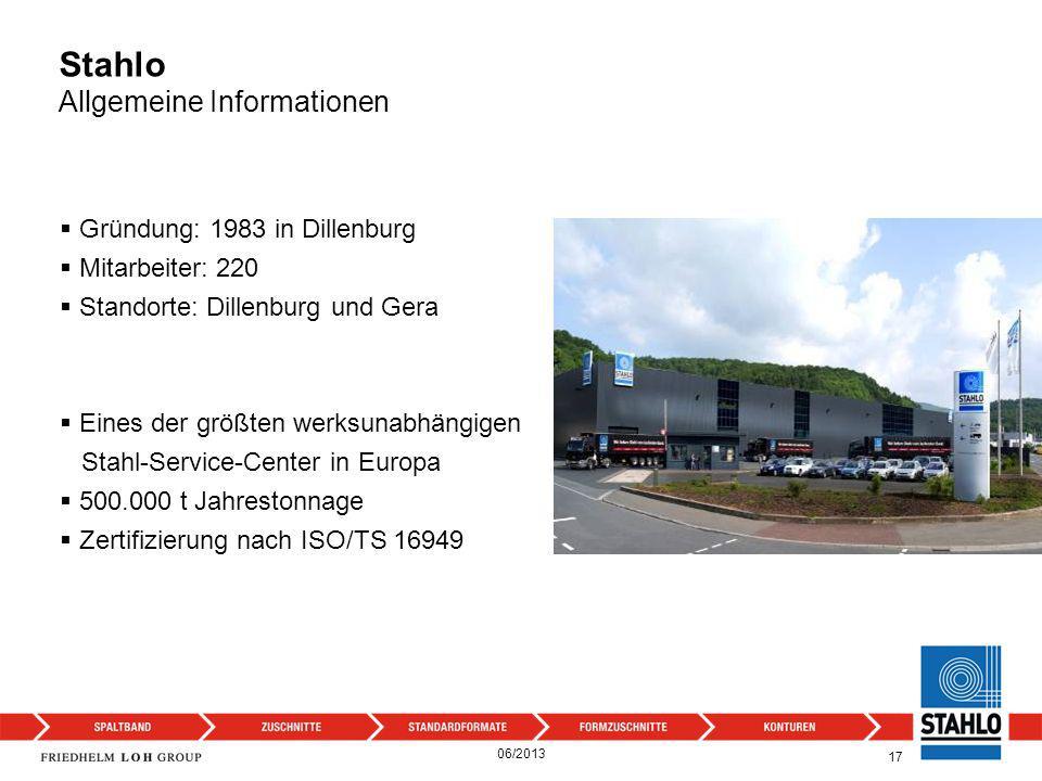 Eines der größten werksunabhängigen Stahl-Service-Center in Europa 500.000 t Jahrestonnage Zertifizierung nach ISO/TS 16949 17 Gründung: 1983 in Dille