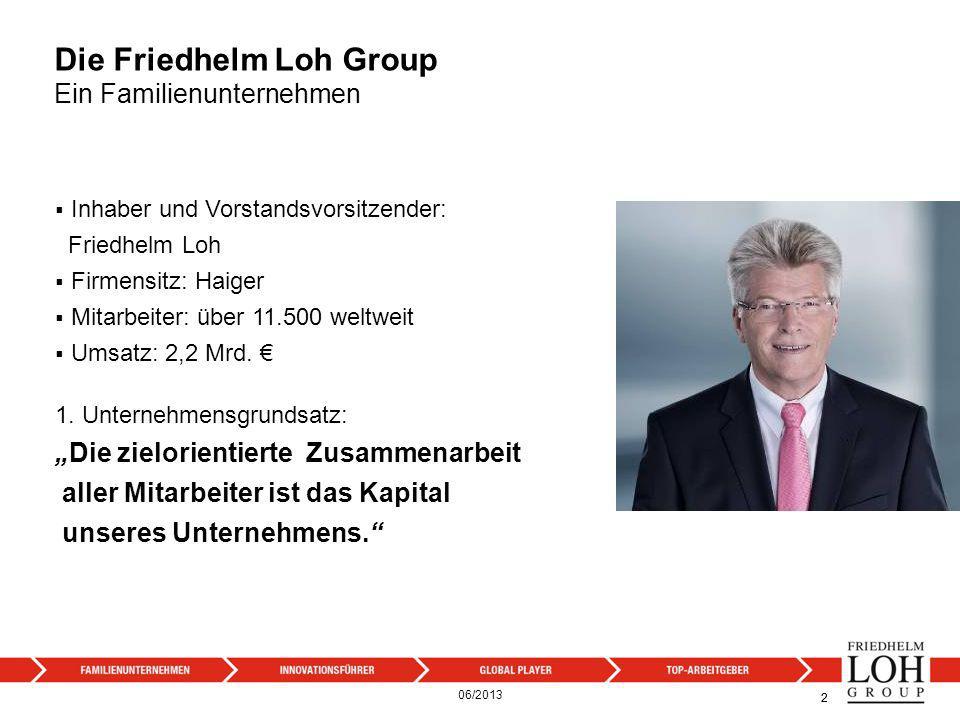 Die Friedhelm Loh Group Ein Familienunternehmen Inhaber und Vorstandsvorsitzender: Friedhelm Loh Firmensitz: Haiger Mitarbeiter: über 11.500 weltweit