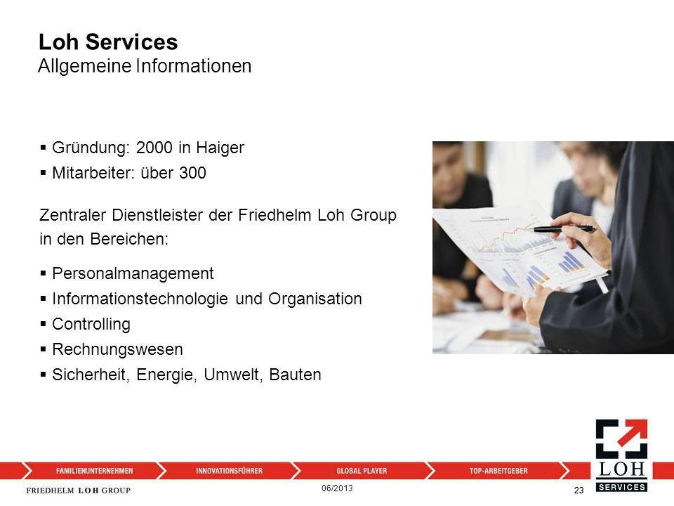 Loh Services Allgemeine Informationen 23 Personalmanagement Informationstechnologie und Organisation Controlling Rechnungswesen Sicherheit, Energie, U