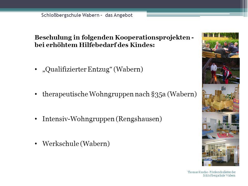 Schloßbergschule Wabern – das Angebot Thomas Kusche - Förderschulleiter der Schloßbergschule Wabern Beschulung in folgenden Kooperationsprojekten - be