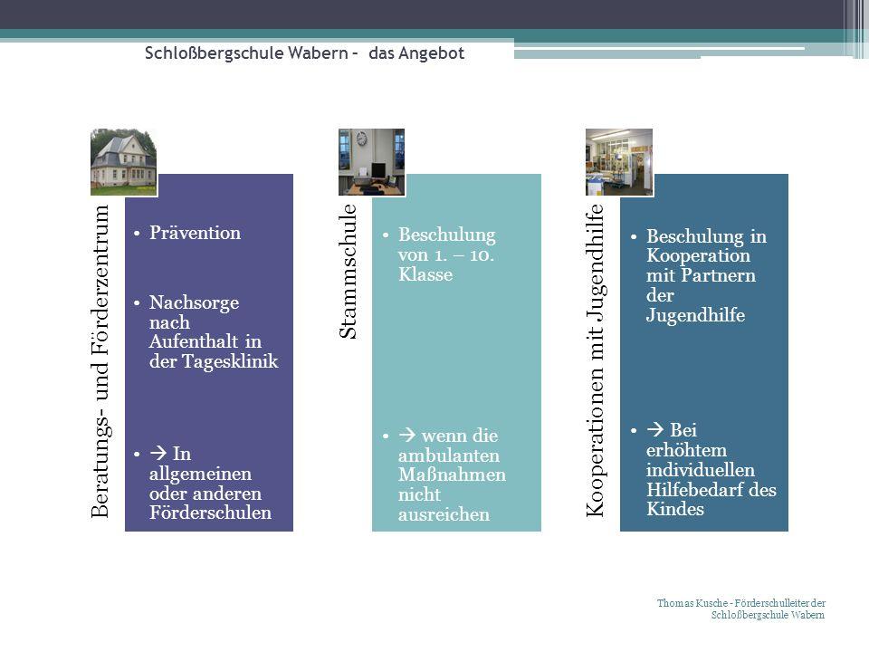 Schloßbergschule Wabern – das Angebot Thomas Kusche - Förderschulleiter der Schloßbergschule Wabern Beratungs- und Förderzentrum Prävention Nachsorge