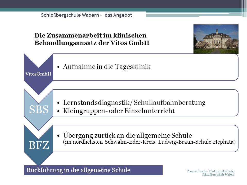 Schloßbergschule Wabern – das Angebot Thomas Kusche - Förderschulleiter der Schloßbergschule Wabern Die Zusammenarbeit im klinischen Behandlungsansatz