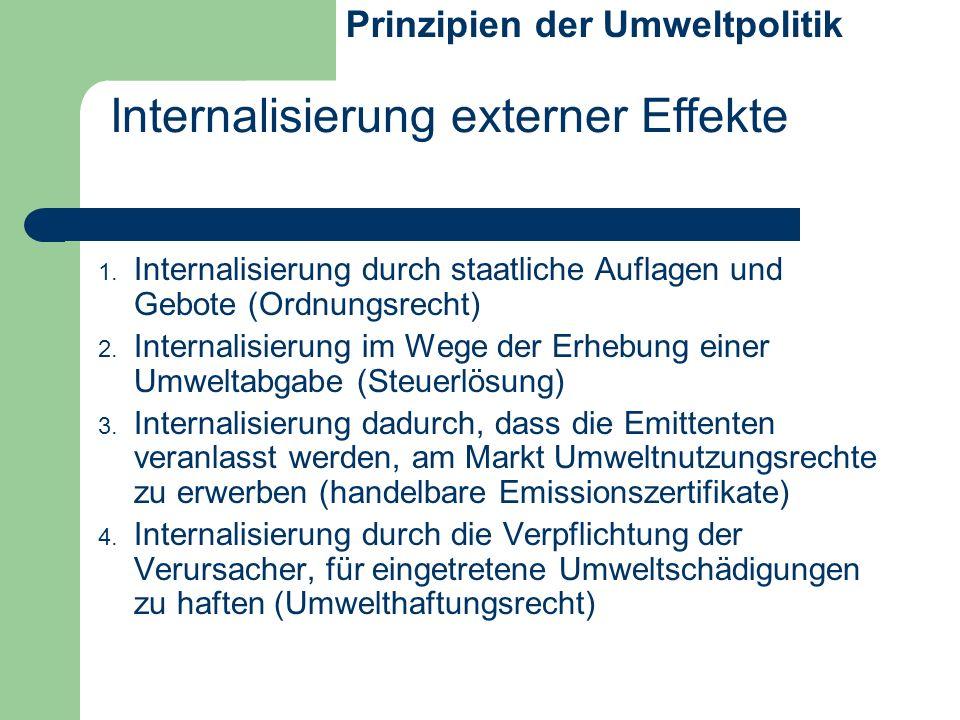 1. Internalisierung durch staatliche Auflagen und Gebote (Ordnungsrecht) 2. Internalisierung im Wege der Erhebung einer Umweltabgabe (Steuerlösung) 3.