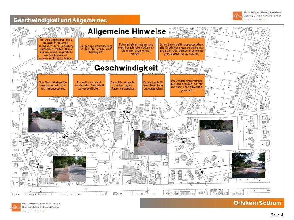 Ortskern Sottrum Seite 4 Geschwindigkeit und Allgemeines