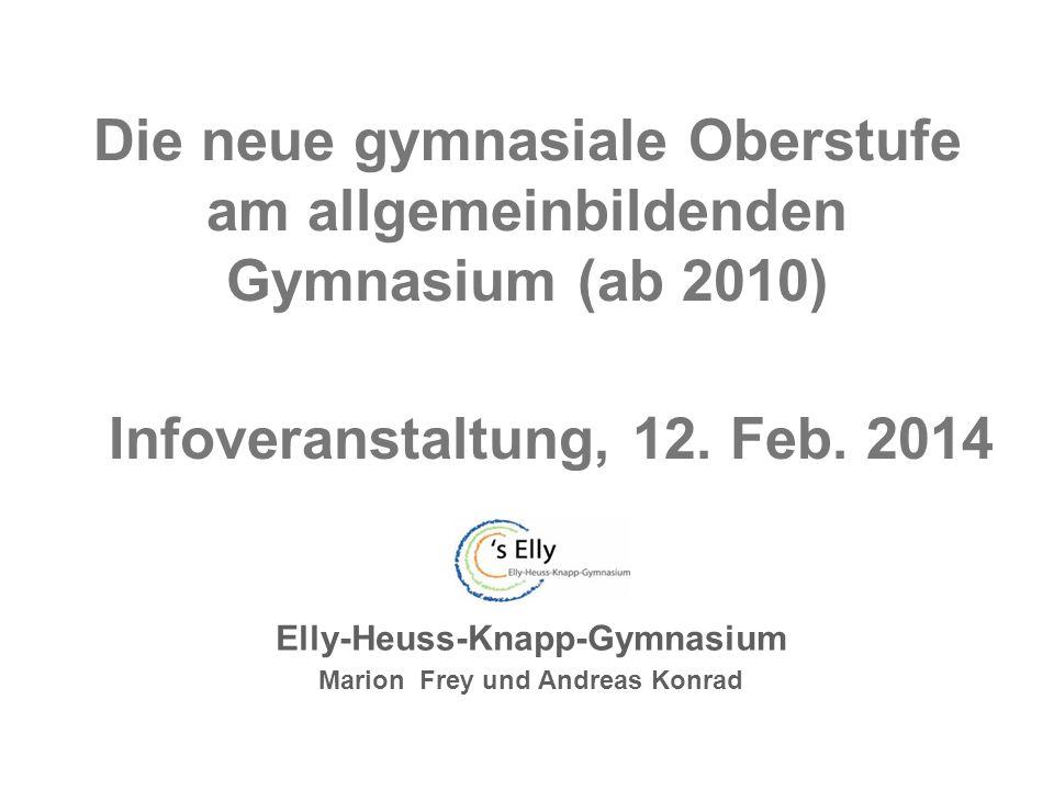 Die neue gymnasiale Oberstufe am allgemeinbildenden Gymnasium (ab 2010) Elly-Heuss-Knapp-Gymnasium Marion Frey und Andreas Konrad Infoveranstaltung, 12.