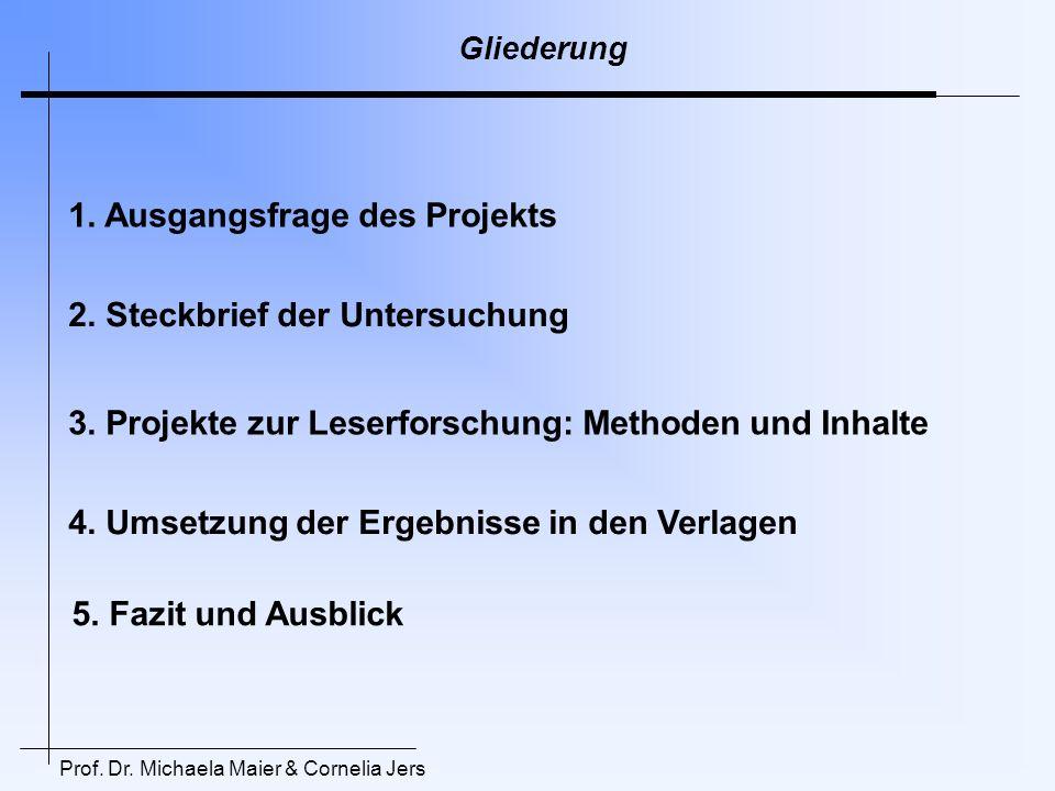 Prof. Dr. Michaela Maier & Cornelia Jers Gliederung 1. Ausgangsfrage des Projekts 2. Steckbrief der Untersuchung 3. Projekte zur Leserforschung: Metho