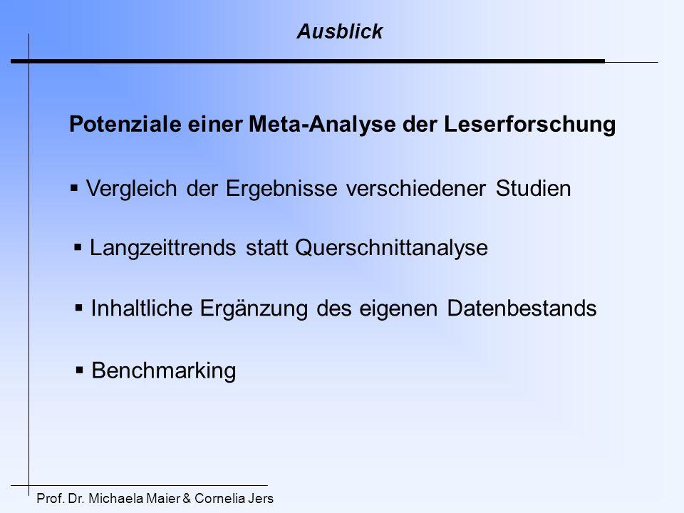 Prof. Dr. Michaela Maier & Cornelia Jers Ausblick Potenziale einer Meta-Analyse der Leserforschung Vergleich der Ergebnisse verschiedener Studien Lang