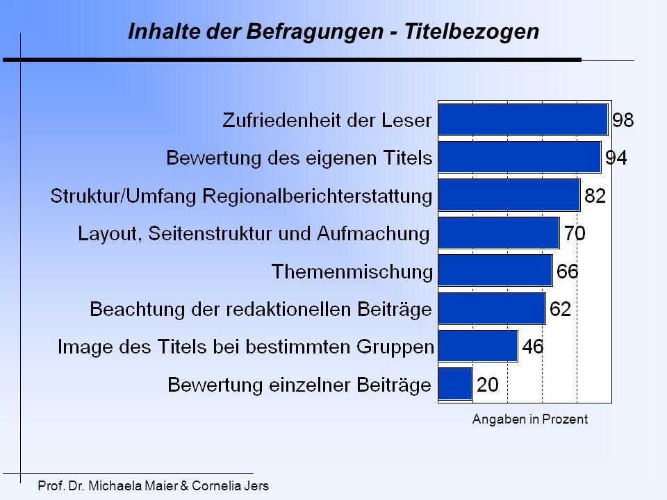 Inhalte der Befragungen – Allgemeine Trends Prof. Dr. Michaela Maier & Cornelia Jers