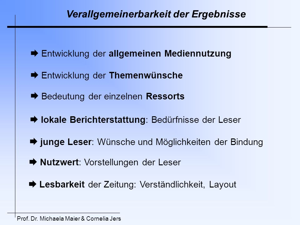 Modell Umsetzung Umsetzung durch die Redakteure Aufgeschlossenheit Beteiligung an Vermittlung der Ergebnisse Verlag / GF Chefredaktion Redakteure Abteilungen Fragestellung Konzeption Lernen 0,5 c 0,3 0,4 b Prof.