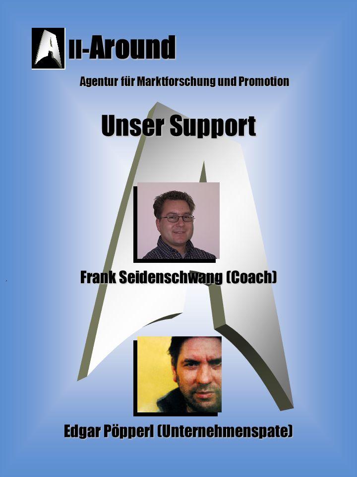 ll- Around Agentur für Marktforschung und Promotion Unser Support ´ Edgar Pöpperl (Unternehmenspate) Frank Seidenschwang (Coach)