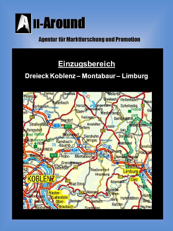 ll- Around Agentur für Marktforschung und Promotion Einzugsbereich Dreieck Koblenz – Montabaur – Limburg