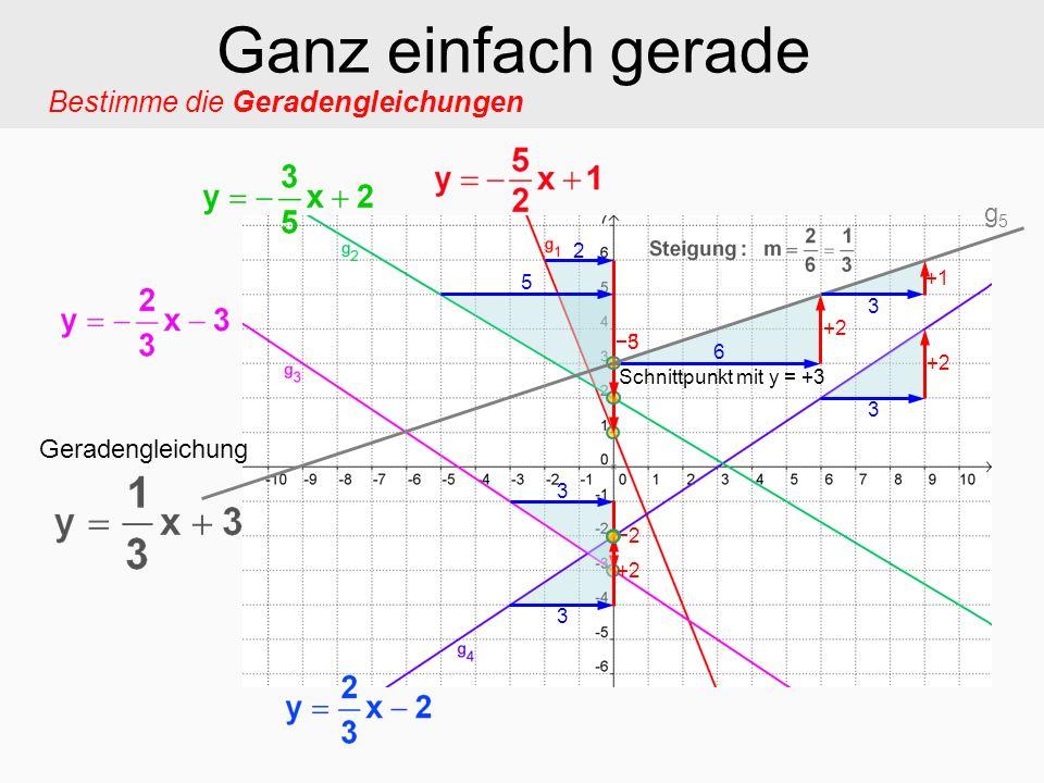 Bestimme die Geradengleichungen Ganz einfach gerade 2 5 5 3 3 2 3 +2 3 6 3 +1 Schnittpunkt mit y = +3 Geradengleichung g5g5