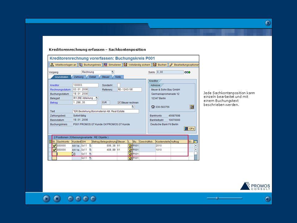 In den Grunddaten werden allgemeine Angaben zur Rechnung erfasst, wie z. B. Kreditor, Referenz (ReNummer) sowie Rechnungsdatum und -betrag. Über die B