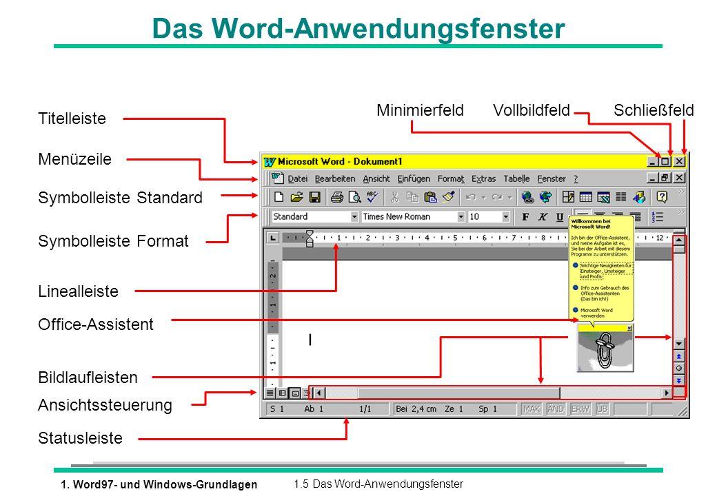 1. Word97- und Windows-Grundlagen1.5 Das Word-Anwendungsfenster Das Word-Anwendungsfenster Titelleiste Menüzeile Symbolleiste Standard Symbolleiste Fo