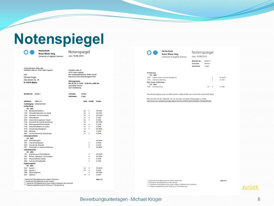 Notenspiegel Bewerbungsunterlagen - Michael Krüger8 zurück