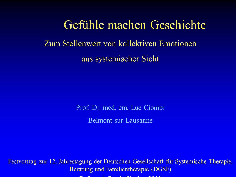 1 Gefühle machen Geschichte Zum Stellenwert von kollektiven Emotionen aus systemischer Sicht Prof.