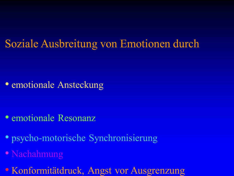 Soziale Ausbreitung von Emotionen durch emotionale Ansteckung emotionale Resonanz psycho-motorische Synchronisierung Nachahmung Konformitätdruck, Angst vor Ausgrenzung Repression, Gewalt.