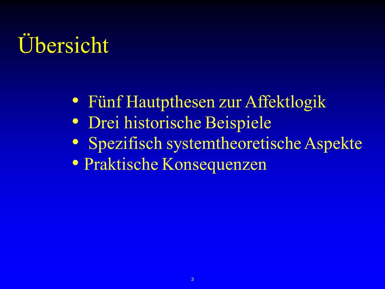 3 Fünf Hautpthesen zur Affektlogik Drei historische Beispiele Spezifisch systemtheoretische Aspekte Praktische Konsequenzen Übersicht