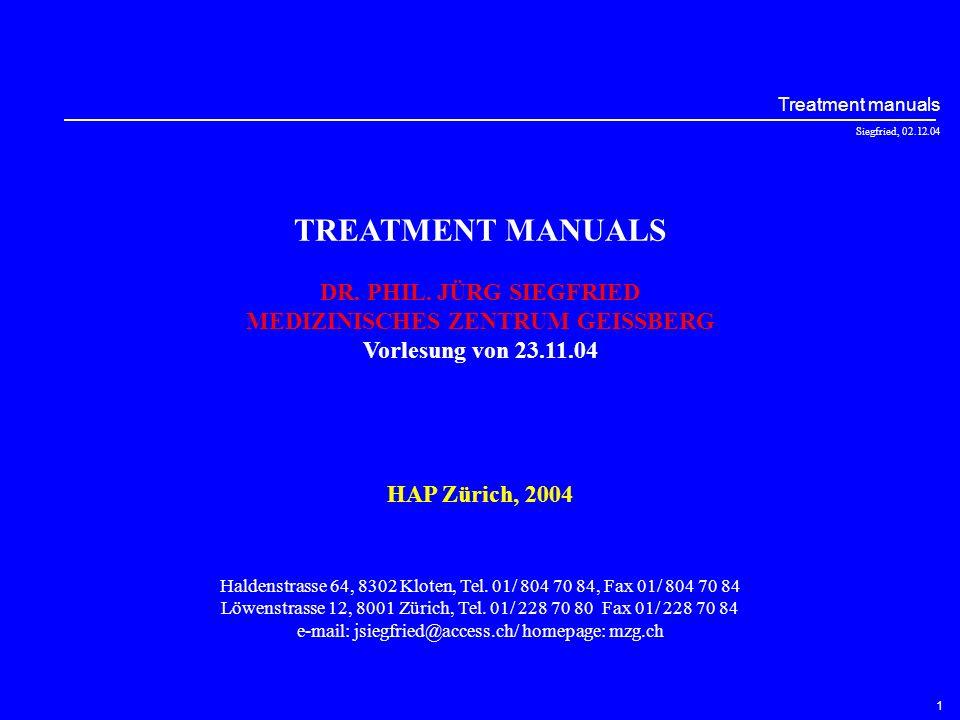 Siegfried, 02.12.04 Treatment manuals 11 Teil 7 : Interpersonelle Psychotherapie Gruppentherapie (Schramm, E., 2003) –1–2–3–4–5–6–7–8–9–1–2–3–4–5–6–7–8–9 - Auseinandersetzung mit der Depression - Die Depression in einen interpersonellen Kontext bringen - Problembereiche identifizieren - Das Konzept der IPT erklären und einen Therapievertrag abschliessen - Trauer (Ziele und Strategien) - interpersonelle Konflikte und Auseinandersetzungen (Ziele und Strategien) - Rollenwechsel und –übergänge (Ziele und Strategien) - interpersonelle Defizite (Ziele und Strategien) - Endsitzung Sitzungen Therapiebausteine Schramm, interpersonell Psychotherapie, mit den Original-Therapiemanual von Klerman, Weissman, Rounsaville und Chevron Geleitwort von Klaus Grawe, Vorwort von Mathias Berger, 2.Auflage (Sonderausgabe), Schattauer Effektivität