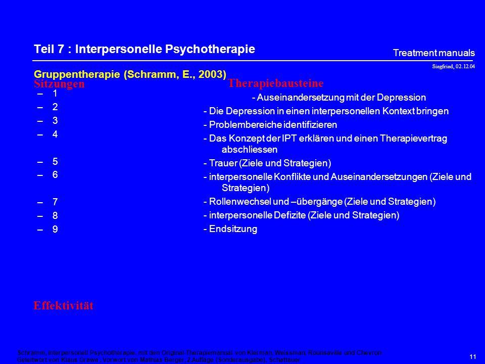 Siegfried, 02.12.04 Treatment manuals 10 Teil 6 : Substanzmissbrauch Gruppentherapie zum Erhalten der Wirkung –1 –2 –3 –4 –5 –6 –7 –8 –9 –10 –11 –12 –