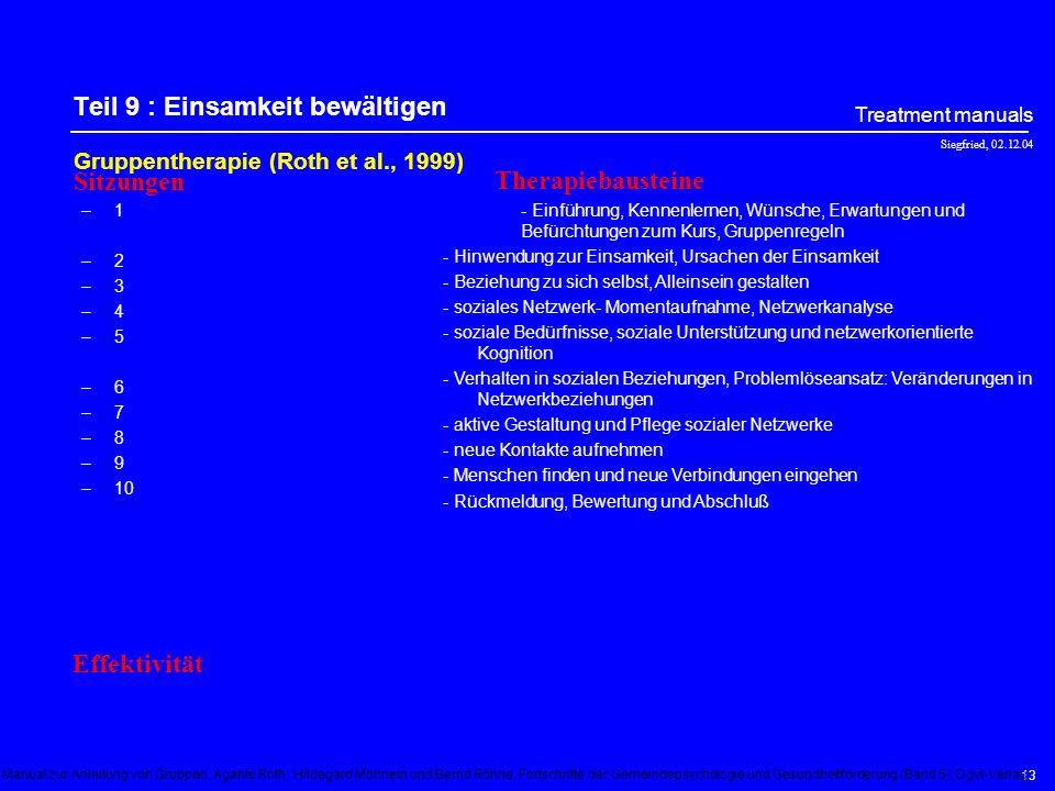 Siegfried, 02.12.04 Treatment manuals 12 Teil 8 : Rauchen Gruppentherapie bei Rauchern (Abgewöhnung) (Unland, 1995) –1–2–3–4–5–6–7–8–1–2–3–4–5–6–7–8 -