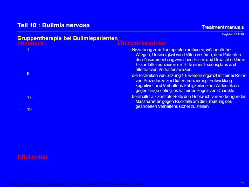 Siegfried, 02.12.04 Treatment manuals 13 Teil 9 : Einsamkeit bewältigen Gruppentherapie (Roth et al., 1999) –1 –2 –3 –4 –5 –6 –7 –8 –9 –10 - Einführun