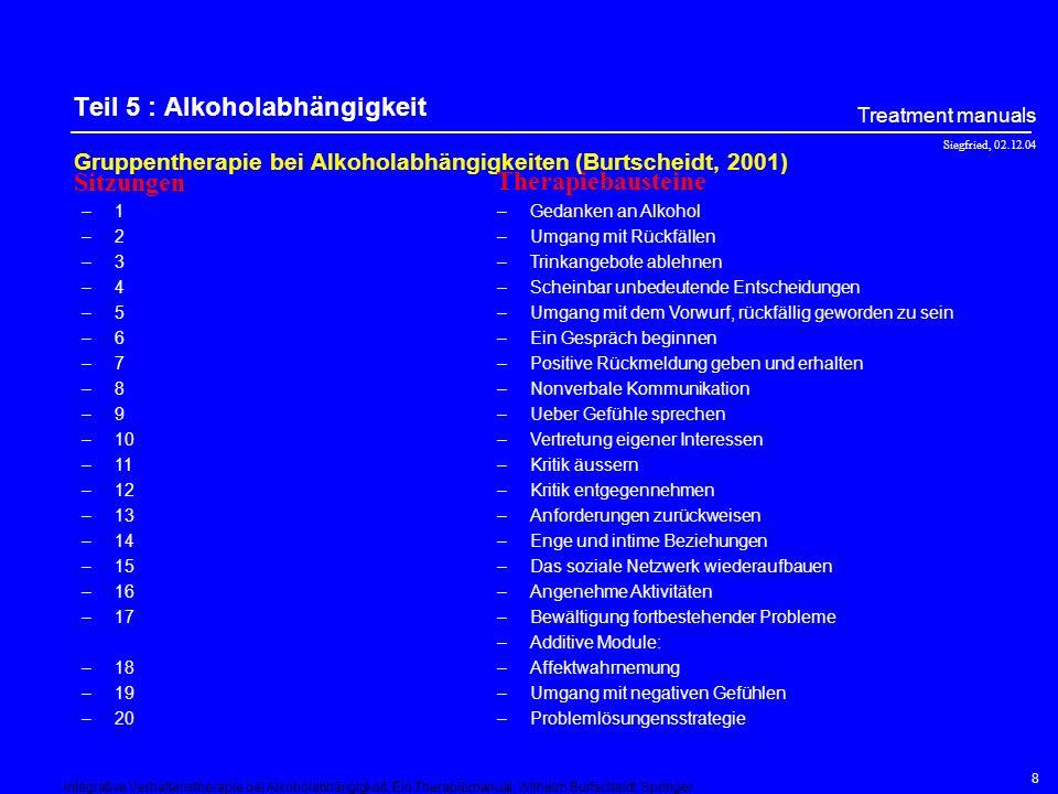 Siegfried, 02.12.04 Treatment manuals 8 Teil 5 : Alkoholabhängigkeit Gruppentherapie bei Alkoholabhängigkeiten (Burtscheidt, 2001) –1 –2 –3 –4 –5 –6 –7 –8 –9 –10 –11 –12 –13 –14 –15 –16 –17 –18 –19 –20 –Gedanken an Alkohol –Umgang mit Rückfällen –Trinkangebote ablehnen –Scheinbar unbedeutende Entscheidungen –Umgang mit dem Vorwurf, rückfällig geworden zu sein –Ein Gespräch beginnen –Positive Rückmeldung geben und erhalten –Nonverbale Kommunikation –Ueber Gefühle sprechen –Vertretung eigener Interessen –Kritik äussern –Kritik entgegennehmen –Anforderungen zurückweisen –Enge und intime Beziehungen –Das soziale Netzwerk wiederaufbauen –Angenehme Aktivitäten –Bewältigung fortbestehender Probleme –Additive Module: –Affektwahrnemung –Umgang mit negativen Gefühlen –Problemlösungensstrategie Sitzungen Therapiebausteine Integrative Verhaltenstherapie bei Alkoholabhängigkeit, Ein Therapiemanual; Wilhelm Burtscheidt; Springer