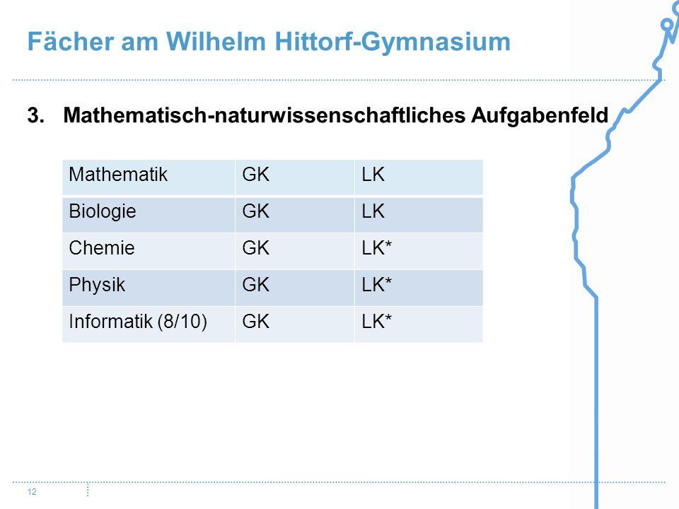 Fächer am Wilhelm Hittorf-Gymnasium 12 3.