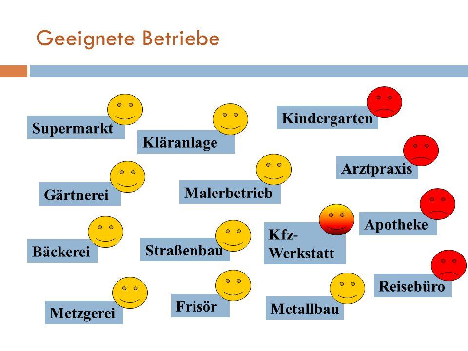 Geeignete Betriebe Supermarkt Kindergarten Gärtnerei Bäckerei Arztpraxis Metzgerei Straßenbau Apotheke Frisör Reisebüro Metallbau Malerbetrieb Kläranl